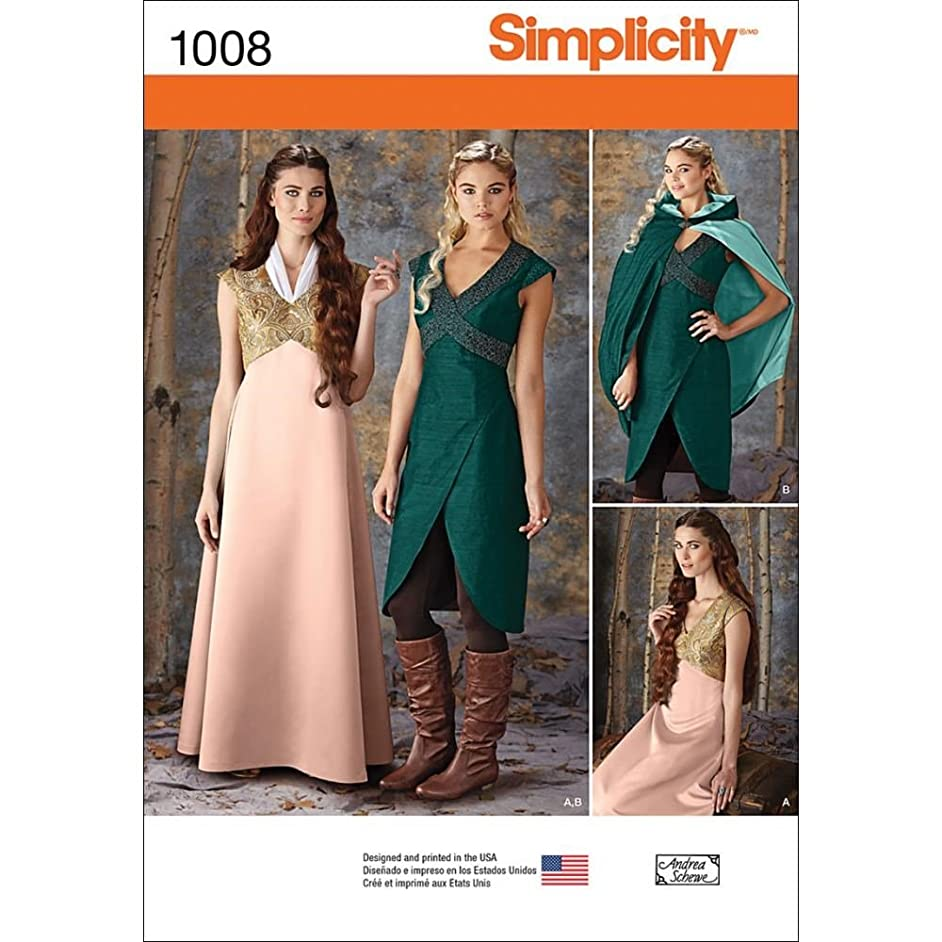 Simplicity Teen and Women's Renaissance Faire, Cosplay, and Halloween Costume Dress Sewing Pattern, Sizes 14-22