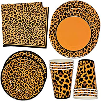 Leopard Print Party Supplies Tableware Set 24 9  Plates 24 7  Plate 24 9 Oz Cups 50 Lunch Napkins for Cheetah Jungle Safari Animal Adventure Wild Zoo Pals Baby Shower Birthday Disposable Paper Goods