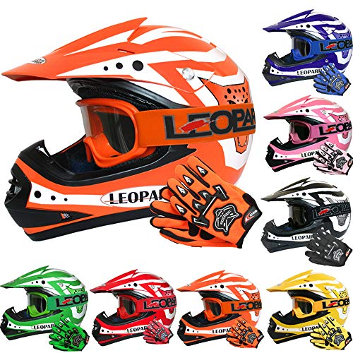 Leopard LEO-X17 *ECE 2205 Genehmigt* Kinder Motocross MX Helm Motorradhelm Crosshelm Kinderquad Off Road Enduro Sport + Handschuhe + Brille - Orange L (53-54cm)