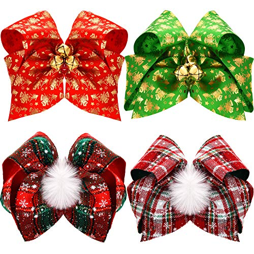 4 Pieces Christmas Large Hair Bows with Alligator Clips Christmas Hair Clips Xmas Bowknot Hair Barrettes for Women Girls Kids Hair Accessories