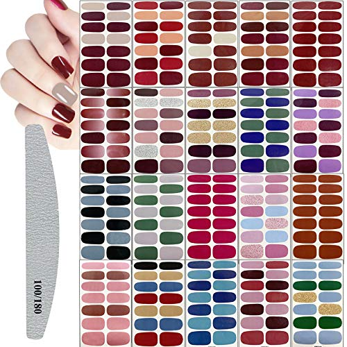 20 Sheets Full Wraps Nail Art Polish Stickers,Solid Color Self-Adhesive Polish Wraps Stickers Set,Nail Decals with Nail Files for Women Girls DIY Nail Art Decoration,Classic Assorted Colors