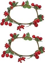 IMIKEYA 2Pcs Natal Anéis Anel Pequena Vela Grinaldas Berry Berry Chá Luz Vela Vela Titular Decoração de Mesa para a Queda ...