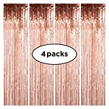 Rose Gold Foil Fringe – 4-Pack Set of Rose Gold Fringe Curtains – 3 Ft x 8 Ft Metallic Tinsels Photo Booth Props – Ideal for Photo Shoots, Birthday Bachelorette Party, Engagement, Wedding, Anniversary