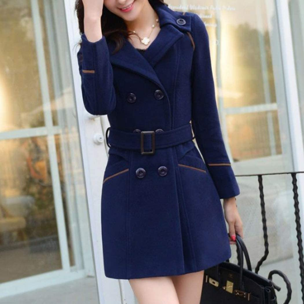 HANMAX Damen Winter Mantel Klassischen Doppelten Breasted Trenchcoat Warm Schlank Vintage Jacke Windmantel Outwear Marine