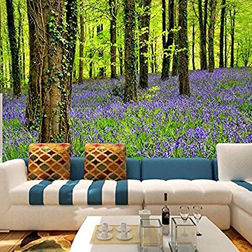 rylryl Mural 3D extraíble Papel tapiz fotográfico 3D Papel tapiz Paisaje natural Flores y bosques púrpuras Gran Muralla HD Habitación TV Fondo Pared Decoración para el hogar-100x70cm