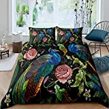 Erosebridal Peacock Comforter Cover King Size Vintage Flower Duvet Cover Peacock Feather Bedding Set Embroidery Chinese Style Room Decoration Bedspread Cover 1 Duvet Cover with 2 Pillow Cases