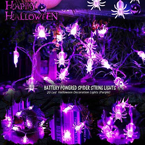 Cadena de luces para Halloween con arañas en color púrpura – 3 metros y 20 luces LED funciona con pilas