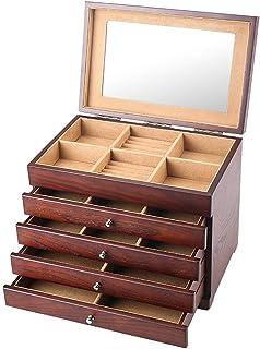 FGDSA Caja de exhibición de joyería de Madera Grande Organizador Caja de Almacenamiento de Joyas de Maquillaje