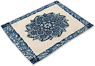 1 Pcs Blue White Mandala Pattern Cotton Linen Placemat Famed Popular Place Mats Eating Tables Set Non Slip Toddler Learning Food Plate Washable Kitchen Room Tool Christmas Decor, Type-06