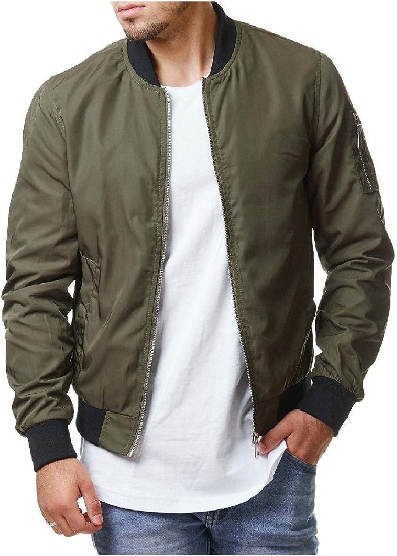 Mogogo Men's Sleeve Outwear Casual Fit Autumn Zip-up Jacket