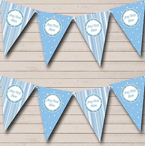 Zachte blauwe strepen en sterren welkom thuis nieuwe baby Bunting partij Banner decoratie slinger Small