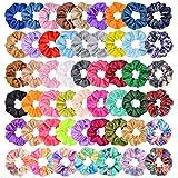 52 pcs Cheveux Chouchous En Mousseline De Soie Fleurs Élastique Bandes De Cheveux Chouchou Cheveux Cravates Cordes pour Femmes Filles
