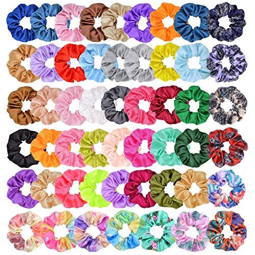 52pcs Hair Scrunchies Chiffon Flowers Bandas elásticas para el cabello Scrunchy Hair Ties Cuerdas para mujeres niñas