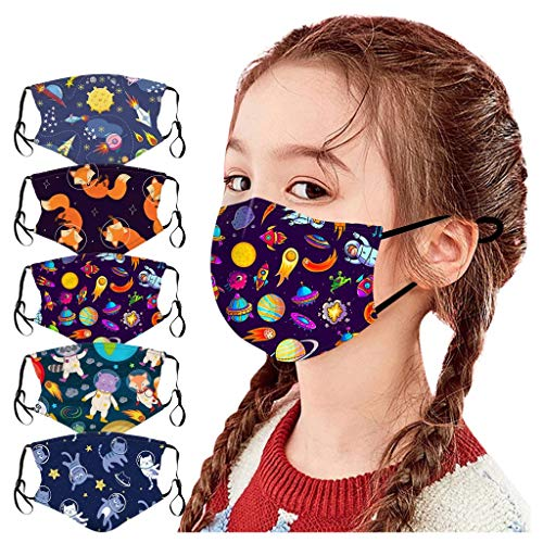 Benficial 5PCS Children Cartoon Space Funny Prints Washable 𝐌𝐚𝐬𝐤,Breathable Cotton Protection(Can Put Fliter)