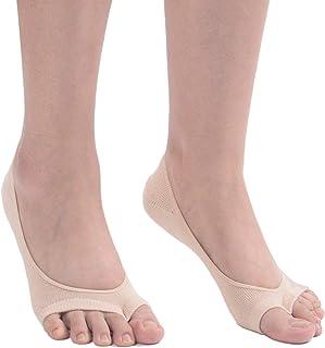 Flammi 3 Pairs Women's Peep Toe Liner Socks No Show with Non-Slip Heel Grip