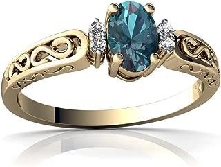 14kt Gold Lab Alexandrite and Diamond 6x4mm Oval filligree Scroll Ring