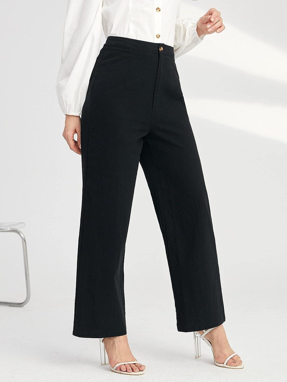 Milumia Women's High Waist Wide Leg Pants for Women Summer Business Casual Crop Pants