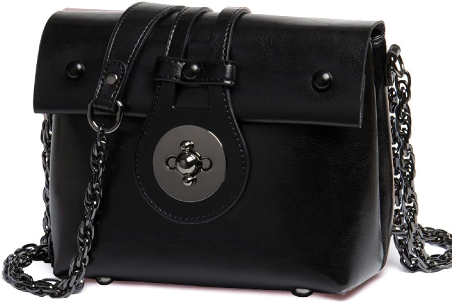 AI BAO Women's Leather Chain Shoulder Bag Wild Messenger Bag Dating Office Small Party Bag