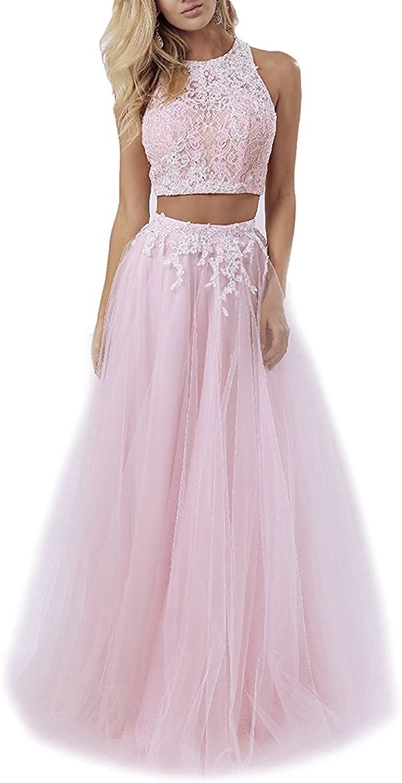CCBubble 2 Piece Prom Dresses 2018 Lace Prom Dresses Long