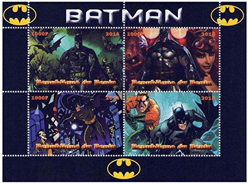 Marvel Heroes Batman foglio di francobolli per i collezionisti di fumetti con 4 francobolli 2014 / Repubblica Benin/MNH