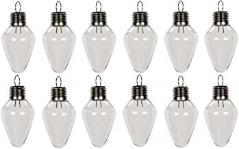 Creative Hobbies Clear Plastic Bulb Shape Ornaments 100mm (4 Inch) Pack of 12