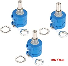 HiLetgo 3pcs 3590S-2-103L 10K Ohm 10-Turn Rotary Wire Wound Precision Potentiometer Pot