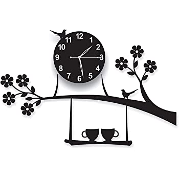 KG Enterprise 3D Acrylic Wall Clock Tree Bird Coffee Cup On Jhula Design for Living Room, Bedroom Wall, Home and Office - Black