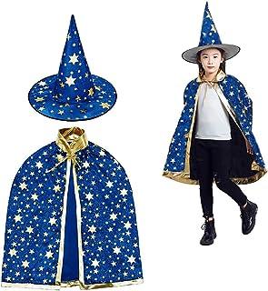 MUCHEN SHOP Wizard mantel met hoed,Halloween kostuums heks mantel ster Cape voor kinderen peuters kinderen jongens meisjes...