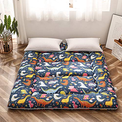 Dinosaur Japanese Floor Futon Mattress for Boys Girls, Thicken Tatami Mat Sleeping Pad Foldable Bed Roll Up Mattress Floor Lounger Bed Couches and Sofas for Kids Queen Size