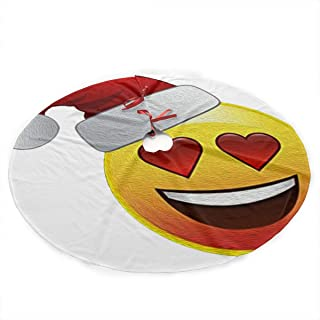 Miaowow Christmas Tree Skirt 35.5 Inches Xmas Tree Skirt Holiday Emoji Loves Christmas with Hearts & Santa Hat Christmas Decorations Indoor Outdoor