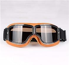 QSCTYG Vintage bril, leer, motorbril, cruiserbril, opvouwbaar, 3 kleuren, 4 kleuren, motorbril 266