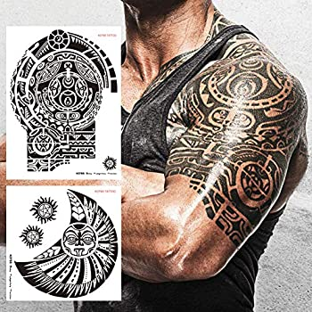 Kotbs 2 Sheets Extra Large Totem Temporary Tattoo Stickers Waterproof Big Temporary Tattoos for Men Adults Guys Women Body Art Arm Shoulder Chest Make Up Fake Tattoos