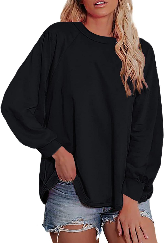 SHEWIN Women Crewneck Sweatshirt Fashion Casual Long Sleeve Fall Tunic Tops Pullover Sweatshirts for Women, US 12-14(L), Black