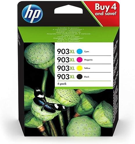 HP 903XL Pack de 4 Cartouches d'Encre Noire, Cyan, Magenta, Jaune grandes capacités Authentiques (3HZ51AE) pour HP Of...