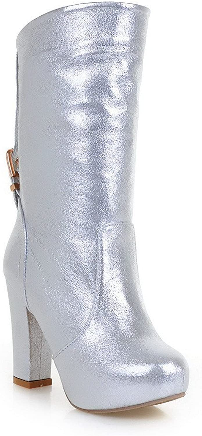 AmoonyFashion Womens High Heels PU Soft Material PU Solid Boots with Heighten Inside and Buckle, Silver, 7.5 B(M) US