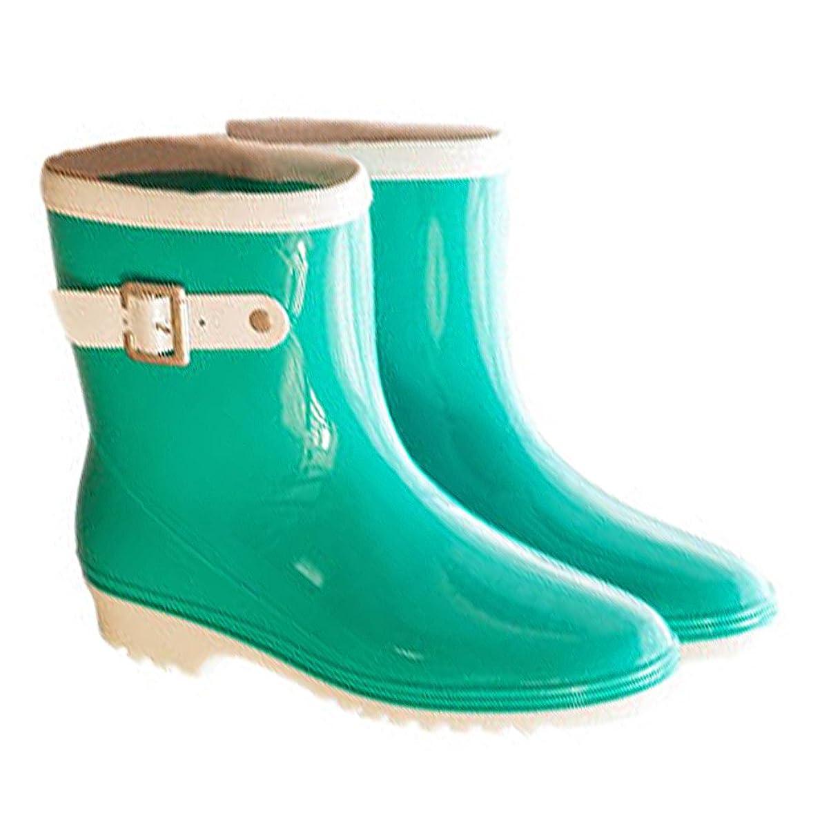 静かに大いに踊り子[ファッション メーカ] F&M レインブーツ レディース おしゃれ 長靴 レインシューズ 雨靴 防水 カジュアル 滑りにくい 可愛い シンプル ベルド ショット