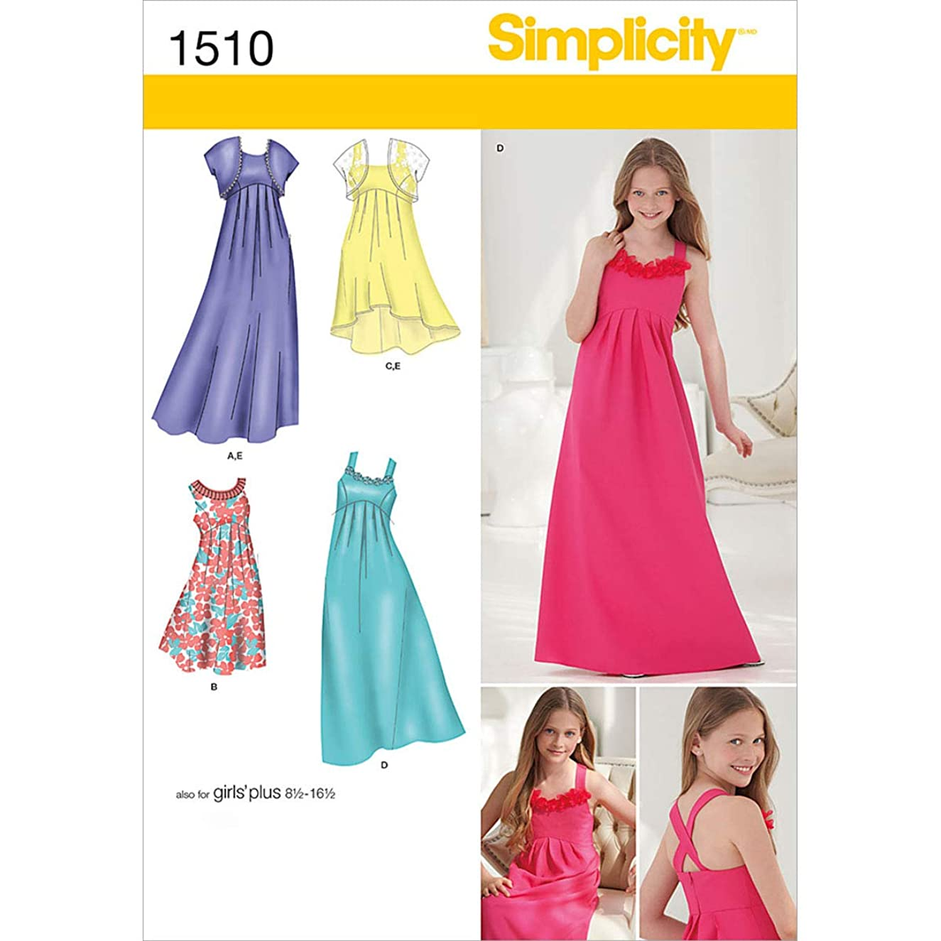 Simplicity 1510 Girls' Plus Size Special Occasion Dress Pattern and Bolero Size 8 1/2-16 1/2