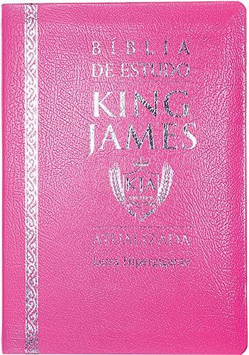 Bíblia de Estudo King James (Atualizada) - Letra Hipergigante (Rosa)