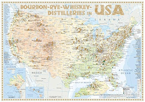 Whiskey Distilleries USA - Tasting Map 34x24cm: The Whisky Landscape in Overview: The Whiskylandscape in Overview - Maßstab 1 : 5.000.000