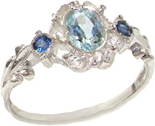 925 Sterling Silver Real Genuine Aquamarine and Sapphire Womens Band Ring