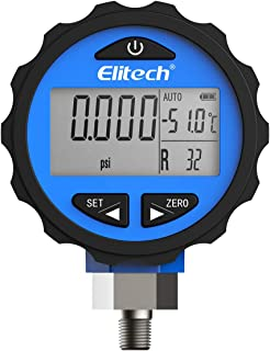 Elitech PG-30Pro Blue Refrigeration HVAC Digital Pressure Gauge for 87+ Refrigerants with Backlight -14.5-500 PSI 1/8'' NPT