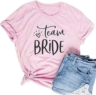 Team Bride Bachelorette Party Pink Tee T Shirt Tops Women Funny Cute Bridal Shower Bride Squad Shirt Tops