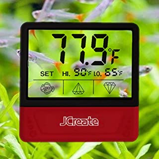 jcreate Fish Tank Thermometer, Touch Screen Digital Aquarium Thermometer with LCD Display, Stick-on Temperature Sensor ensures Optimum Temperature in Terrarium, for Your pet Amphibians and Reptiles