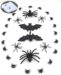 Mimgo-shop Stretchy Spider Web with 26 Realisitc Spiders 2 Bats Scary Creepy Props for Halloween Home Party Decorations, H...