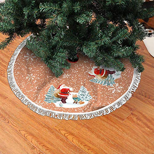 AYBY 48 Inch Christmas Tree Skirt Ornament Fashion Hand-Sewn White Fringed Edge Rustic Xmas Tree Holiday Decorations (Color-6)