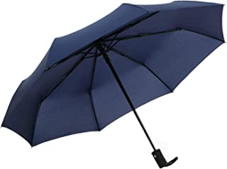 "TradMall Travel Umbrella Windproof with 8 Reinforced Fiberglass Ribs 41"" Large Canopy Auto Open & Close, Blue"