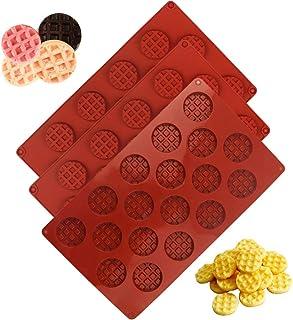 Yolistar Lot de 3 moules à biscuits aux gaufres en silicone à 18 trous,Bac à glaçons ,oules en Silicone pour Chocolat, Mou...