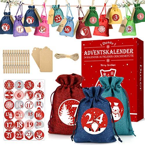 Dusor Adventskalender zum Befüllen - mit 24 Farbe Stoffbeutel, 1-24 Adventskalender Zahlen Stickern, Weihnachten Geschenksäckchen für Dekoration und Befüllen, Adventskalender 2020