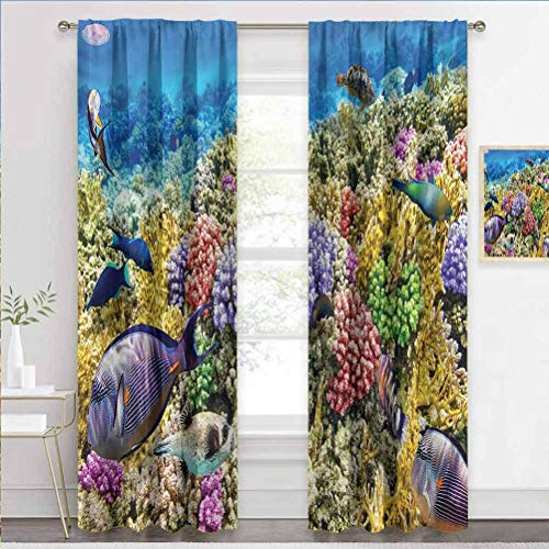 painting-home Grommet Window Curtain Ocean, Tropical Undersea Scenery Heat and Full Light Blocking Drapes for Kids/Adults/Woman/Man Bedroom Living Room W72 x L84 Inch