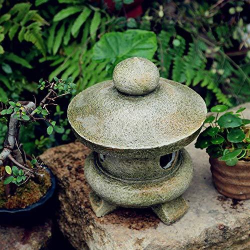 Decoración De Jardín Piso Al Aire Libre Linternas De Piedra Lámpara De Jardín Japonesa Antigua Lámpara De Palacio Inicio Decoración Al Aire Libre Para Interiores Paisaje Zen - (A B C D) A20*20 * 25cm